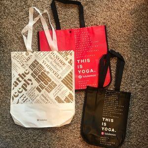 Lululemon shopping bags gift totes set 3